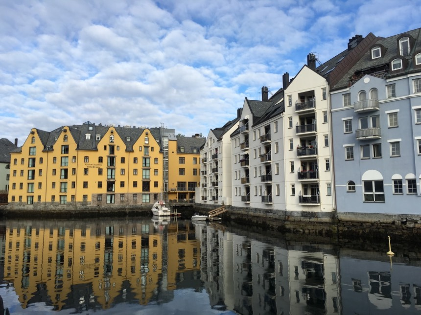 Charming waterfront in Ålesund, Norway
