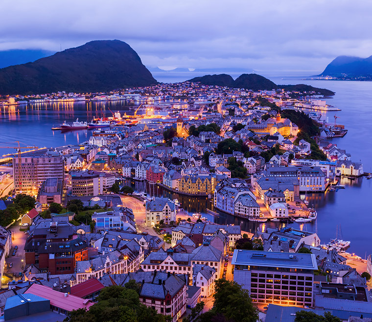Alesund Norway by night from the Mount Aksla restaurant and viewpoint