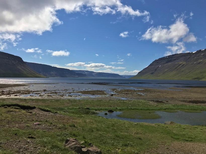 The shoreline of the Arnarfjörður in Iceland's westfjords