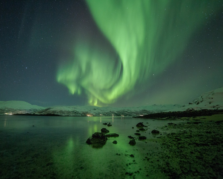 A stunning Aurora Borealis display above Tromsø, Norway, in the winter.