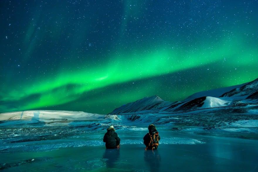 Aurora borealis above a frozen landscape