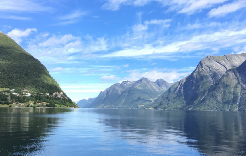 Shore of the Hjørundfjord in Norway