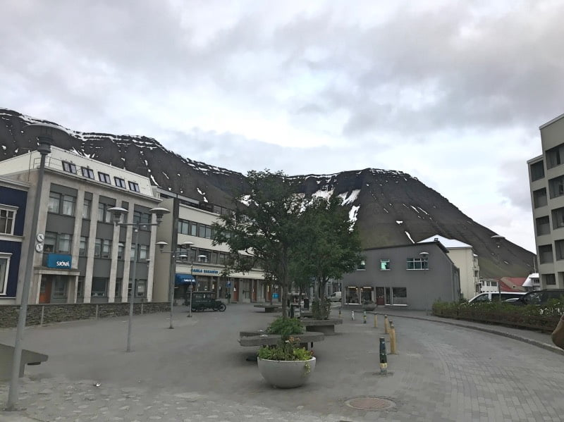 Isafjordur town centre in Iceland