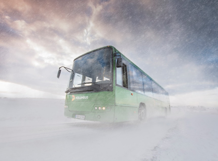 Kolombus winter bus in Stavanger