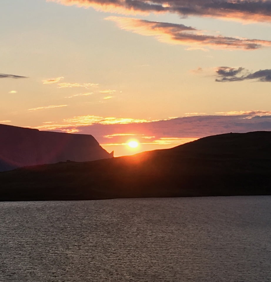The midnight sun viewed from somewhere near Skarsvåg in Norway