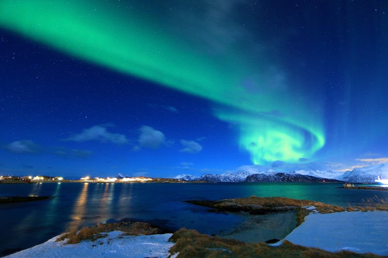 The northern lights above Tromsø, Norway