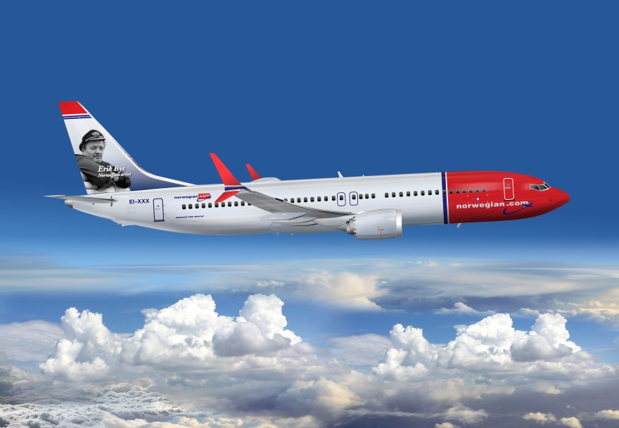 Norwegian Max airplane flying to Norway
