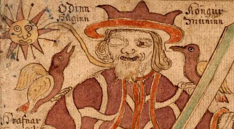 Odin with his ravens Huginn and Muninn
