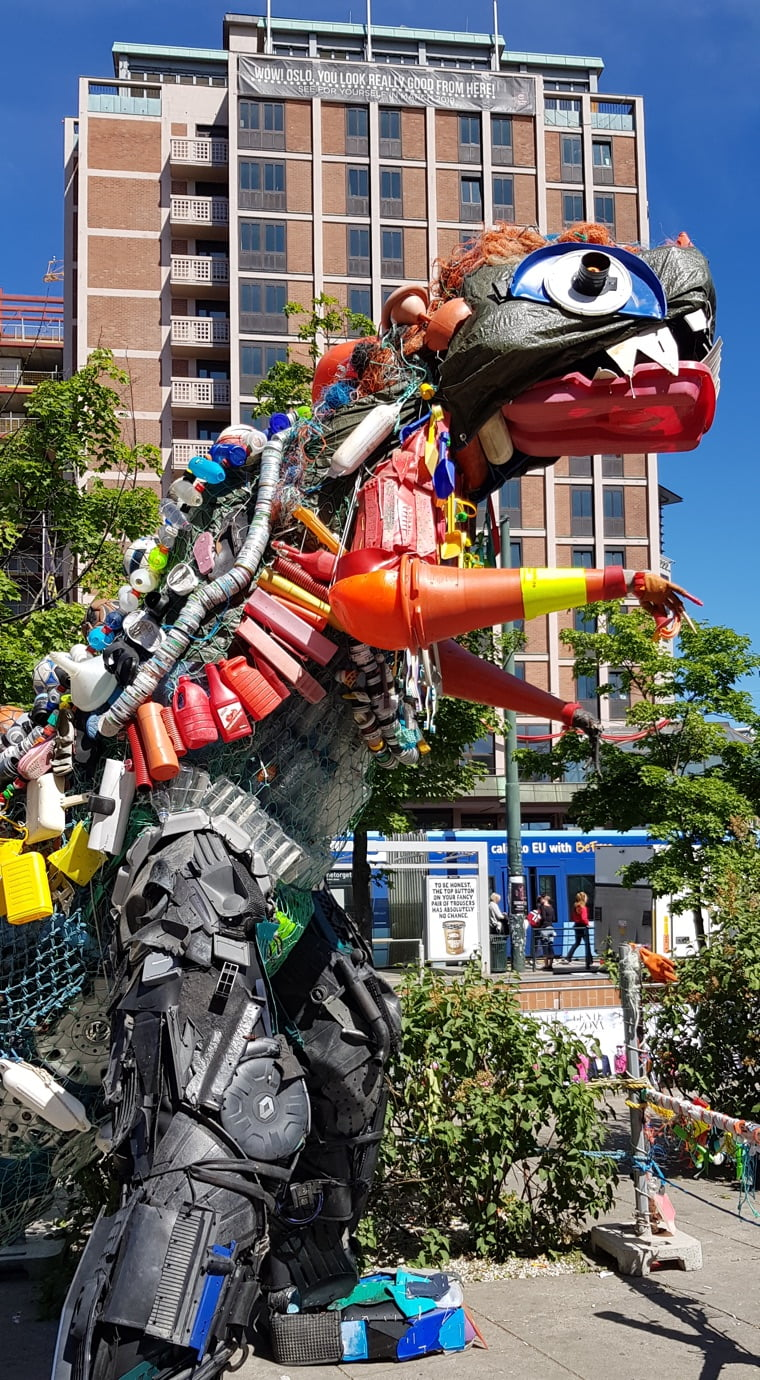 The sculpture Plastozilla in Oslo, Norway, is made from recycled plastic waste.