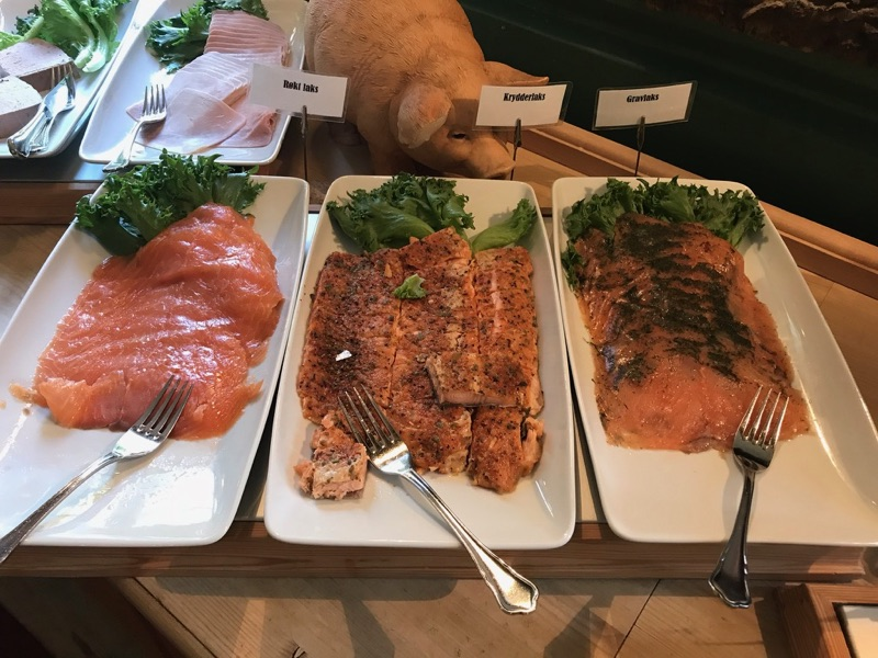 A range of salmon at the breakfast buffet