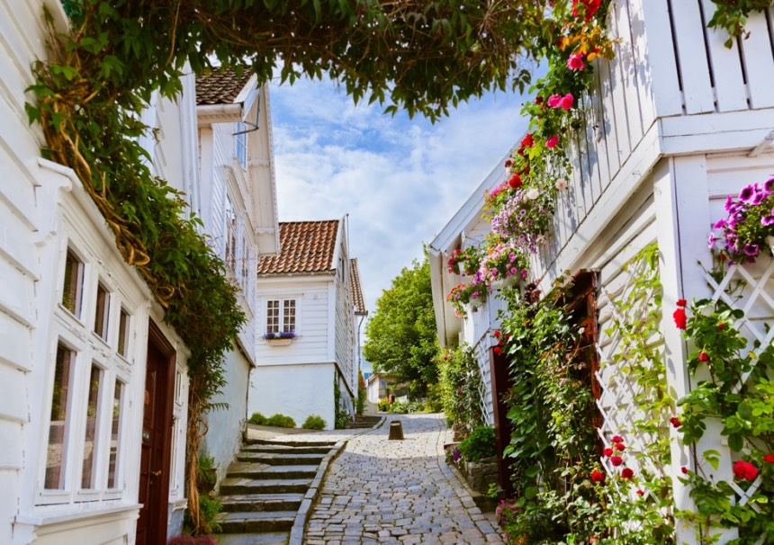 Street with white wooden houses in the old centre of Stavanger