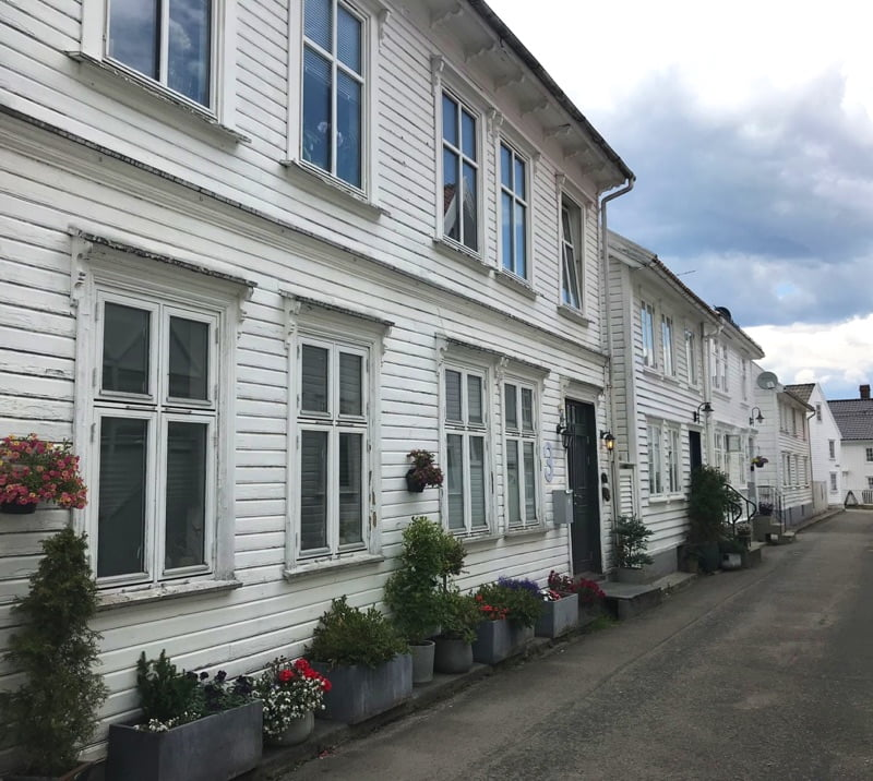White houses on Bakkegaten in Flekkefjord, Norway