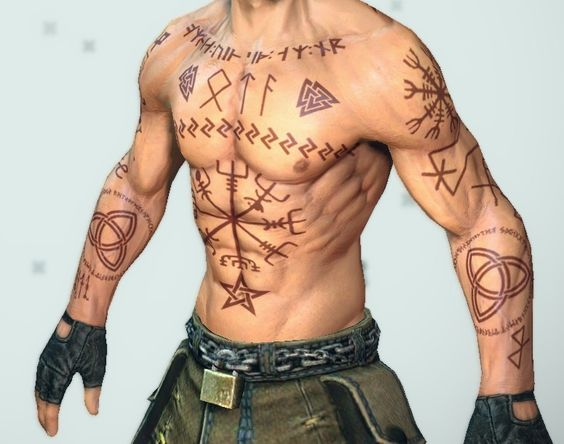 A body with rune tattoos