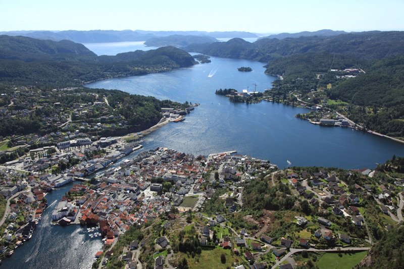 Flekkefjord from the air. Photo: Harald M. Valderberg