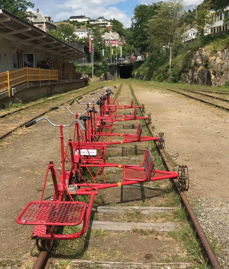 The starting point of the old Flekkefjord railway, now a rail bike attraction.