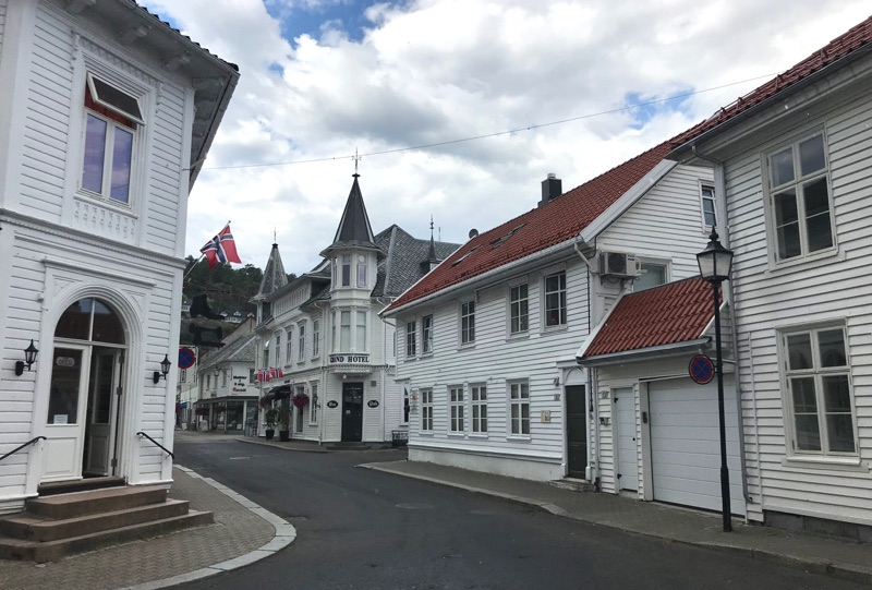 White houses in Flekkefjord, Southern Norway
