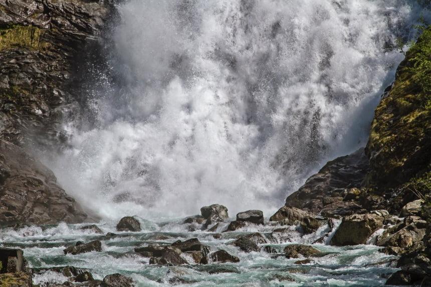 Hjellefossen waterfall in Utladalen, Norway