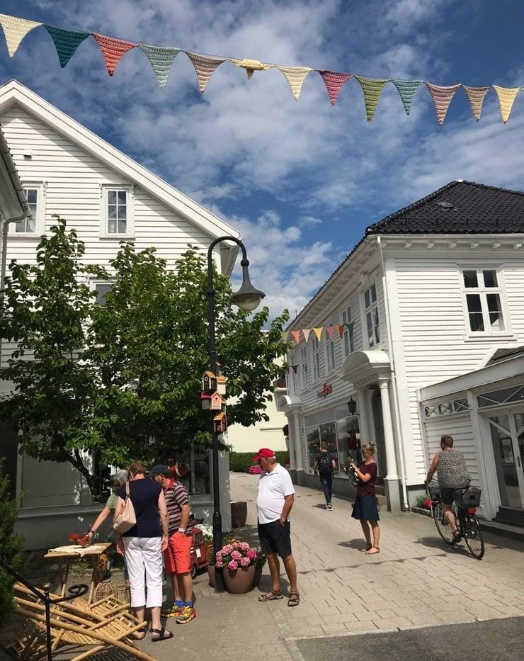 A market street in Flekkefjord, Norway