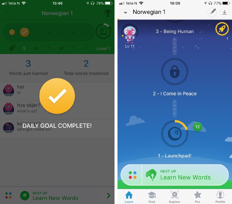 Gamification is built-in to the Memrise app