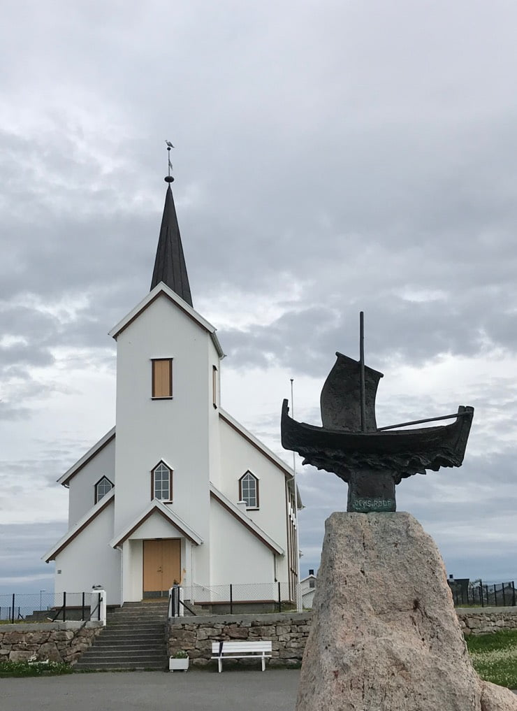Røstlandet Church and ship sculpture