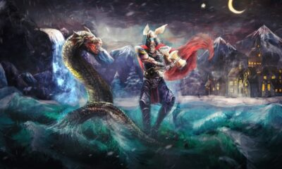 Thor fighting a serpent