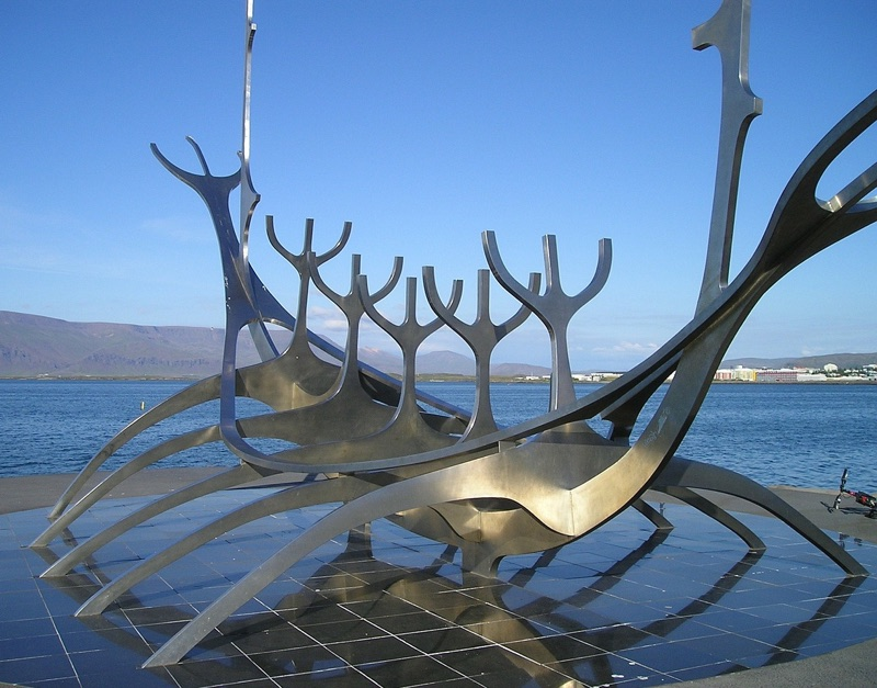 Viking ship artwork in Iceland