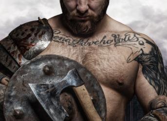 A tattooed Viking man