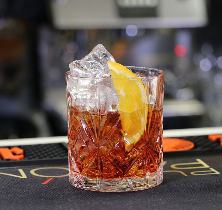 Classic Negroni made with aquavit