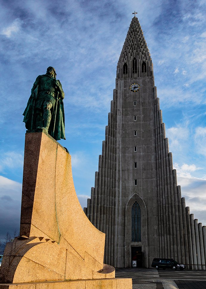 A statue of Leif Erikson outside Reykjavik's Hallgrimskirkja church in Iceland