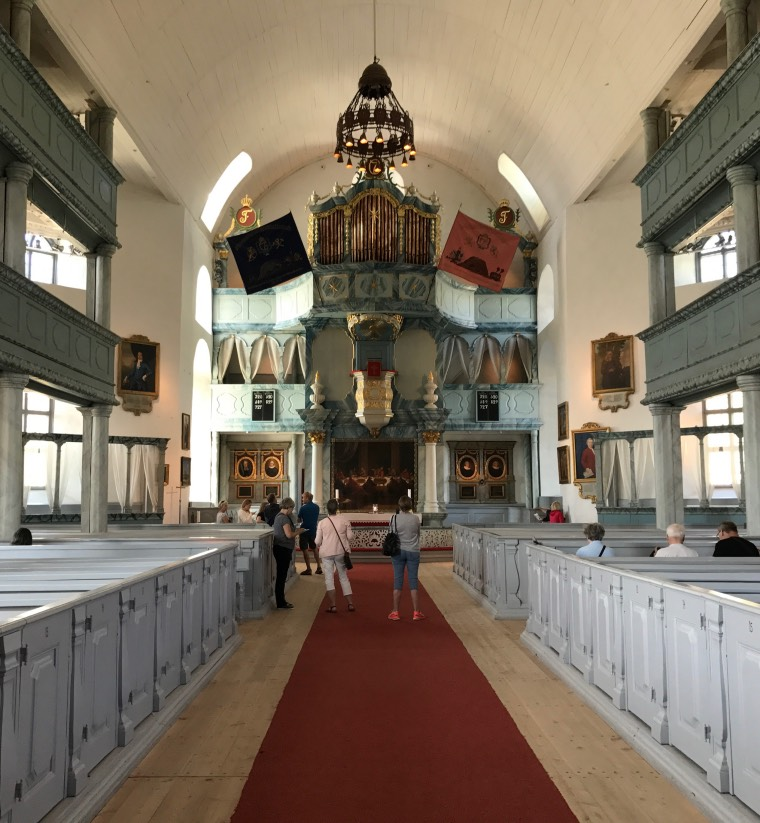 Inside the beautiful whitewashed stone church in Røros, Norway