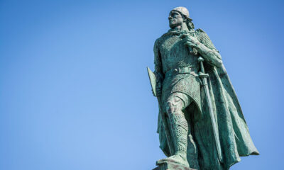 A statue of Leif Erikson the Norse explorer