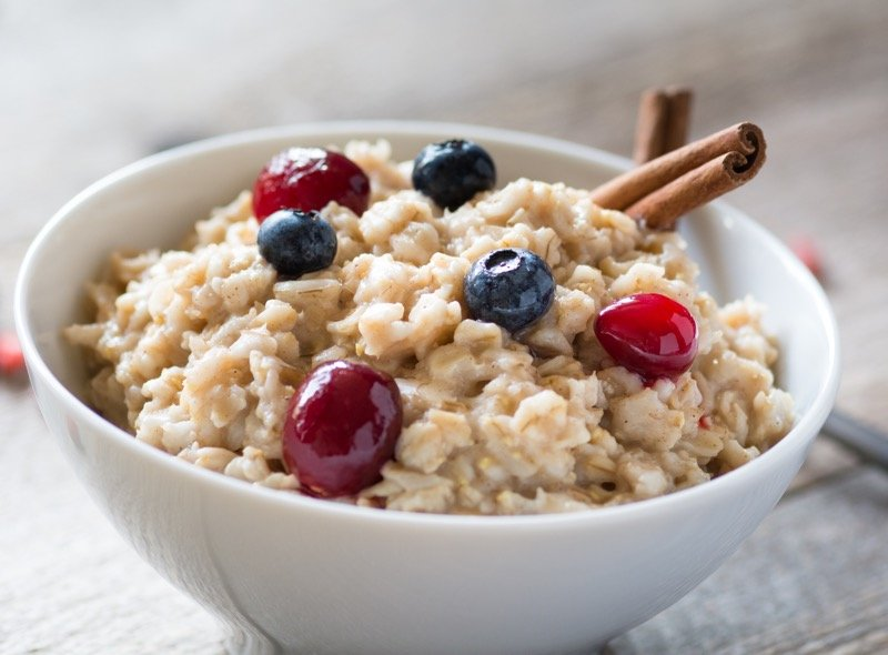 A bowl of oatmeal porridge is eaten for breakfast in some parts of Norway