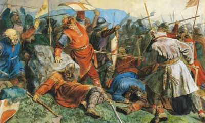 Olav falls at the Battle of Stiklestad
