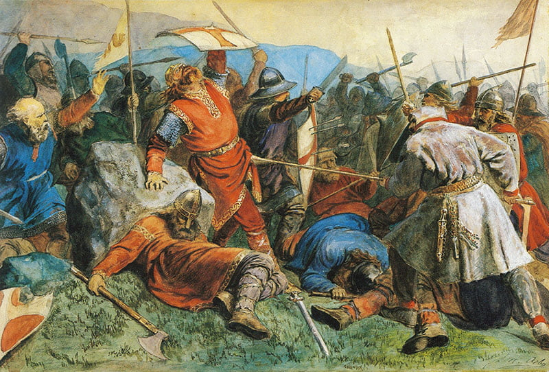 Olav falls at the Battle of Stiklestad