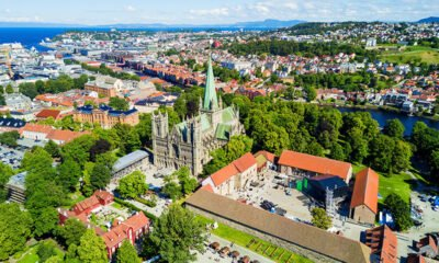 Trondheim city centre from above featuring Nidaros Cathedral