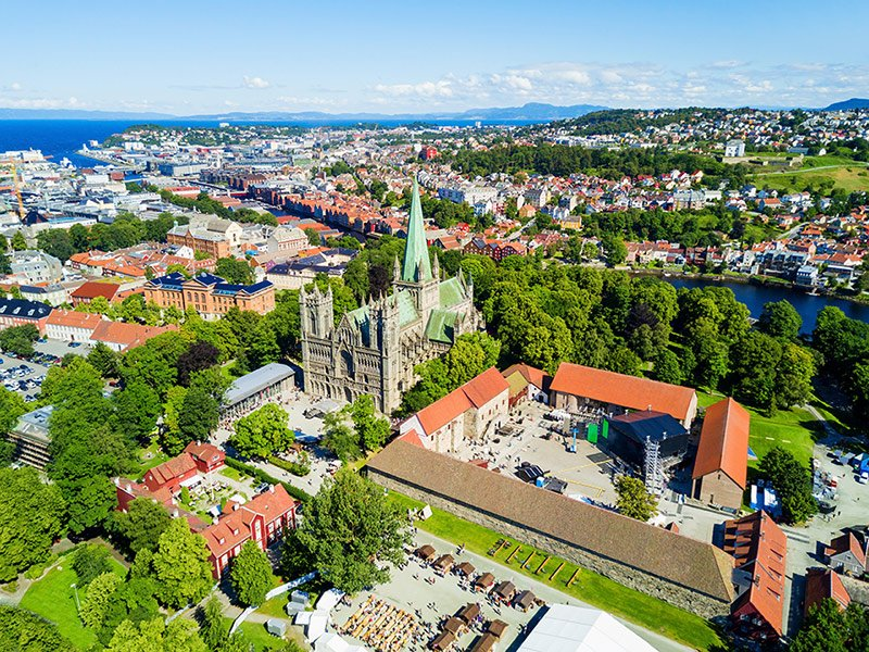 1a8d0020 Trondheim city centre from above featuring Nidaros Cathedral