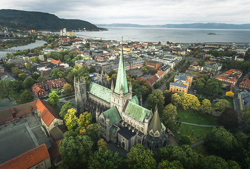 A drone shot of Trondheim city centre in Norway