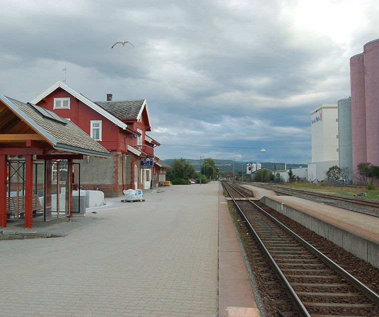 The platform at Verdal railway station