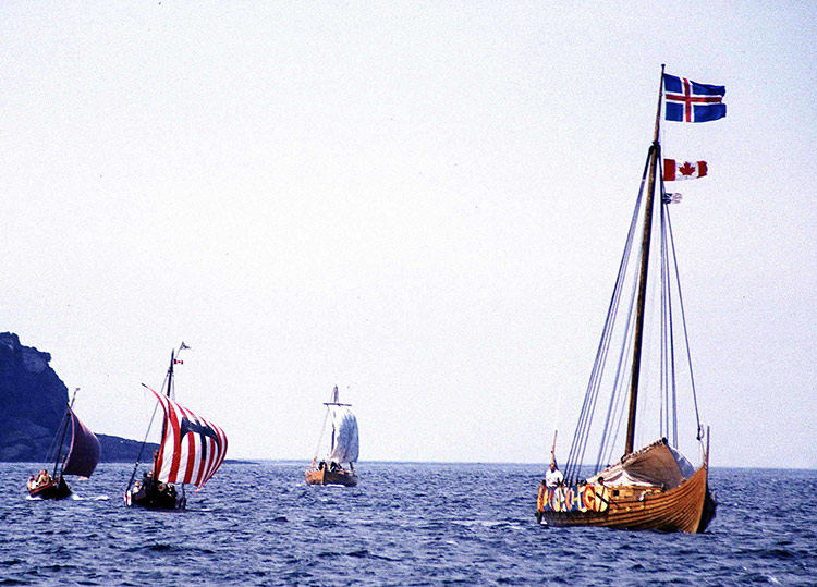 Reenactment of a Viking landing at L'Anse aux Meadows, 2000