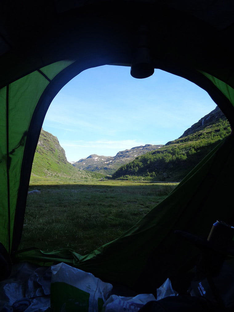 Spectacular view while wild camping in Norway
