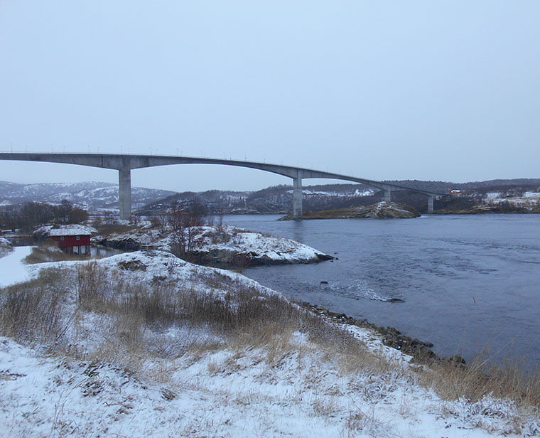 The bridge crossing the Saltstraumen maelstrom in northern Norway
