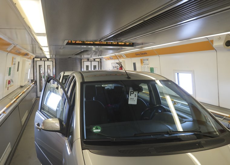 Car in channel tunnel train from Calais to Folkestone