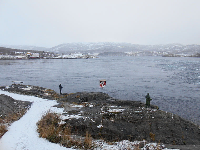 Two hardy Norwegians braving the Saltstraumen maelstrom to fish!