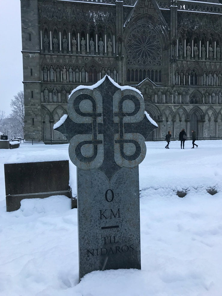 A milestone marking the pilgrims' arrival at Nidaros Cathedral in Trondheim, Norway