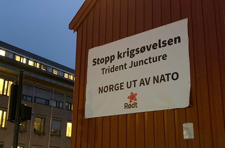 Anti-NATO banner in Trondheim, Norway