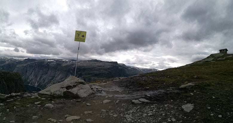 Emergency shelters on the trail to Trolltunga in Norway