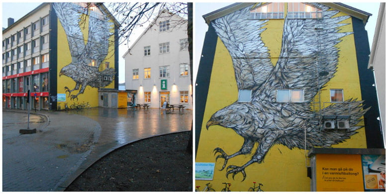 The golden eagle mural in Bodø, Norway