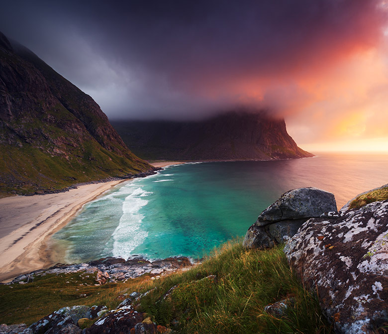 Stunning light at Kvalvika Beach in Lofoten, Norway