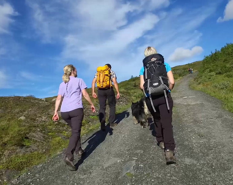 Hikers on the trail to Lønahorgi near Voss in Norway