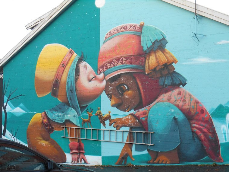 Multicultural street art in Bodø, northern Norway